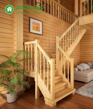 Г-образная лестница на второй этаж ДоброДуб PineWood GL-32