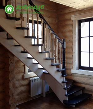П-образная лестница на второй этаж ДоброДуб HappyWood GL-72