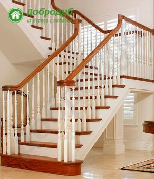 П-образная лестница на второй этаж ДоброДуб RedWood POL-93