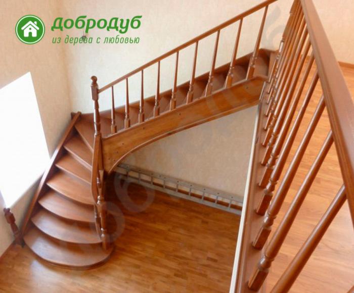 Г-образная лестница из дерева в Санкт-Петербурге цена и характеристики NutWood GL-82