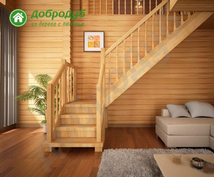 Г-образная лестница из дерева в Санкт-Петербурге цена и характеристики HappyWood GL-62