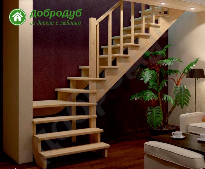 Г-образная лестница из дерева цена и характеристики PineWood GL-22