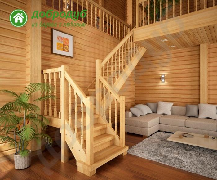 Г-образная лестница из дерева цена и характеристики PineWood GL-32