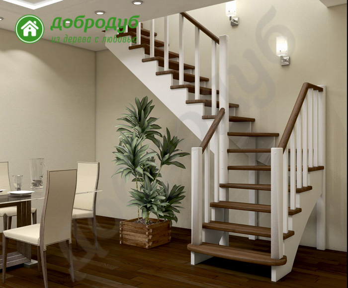 Г-образная лестница из дерева цена и характеристики PineWood GL-52