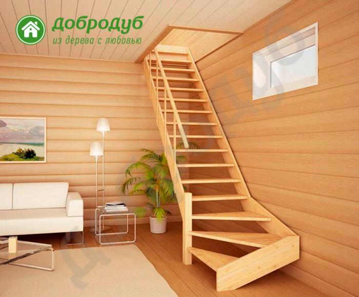 Г-образная лестница из дерева цена и характеристики PineWood GL-12