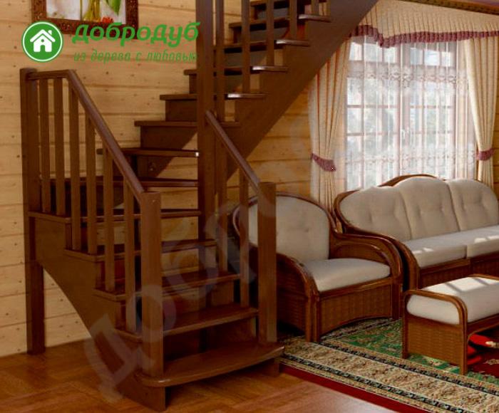 Г-образная лестница из дерева цена и характеристики RedWood GL-92