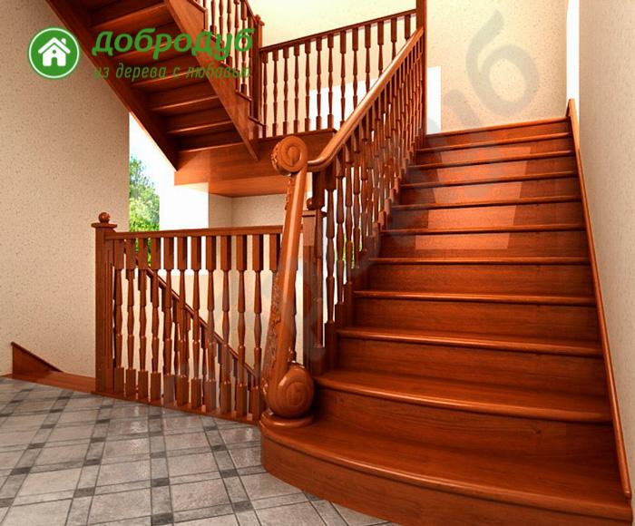 П-образная лестница из дерева в Санкт-Петербурге цена и характеристики NutWood POL-83