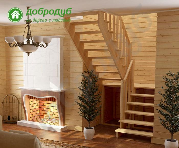 П-образная лестница из дерева цена и характеристики PineWood PL-13