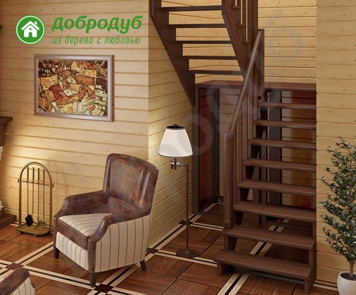 П-образная лестница из дерева цена и характеристики PineWood POL-23