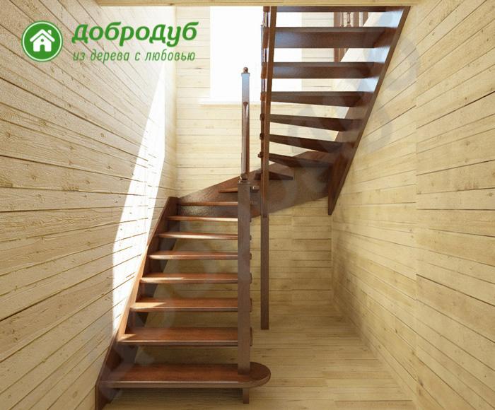 П-образная лестница из дерева цена и характеристики PineWood POL-33
