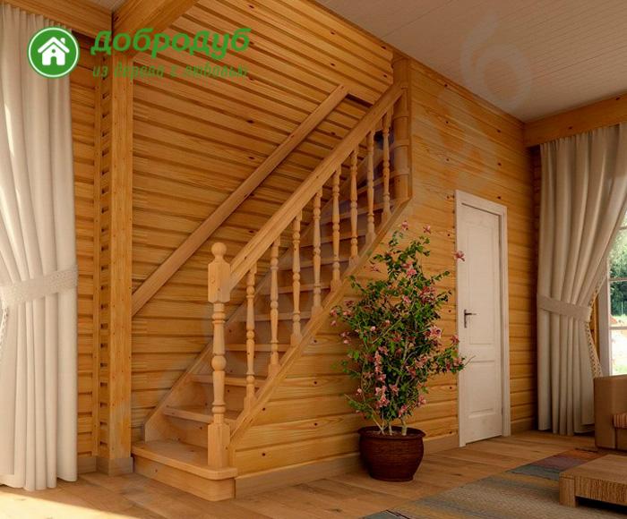 Прямая лестница из дерева цена и характеристики PineWood PL-31