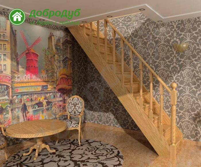 Прямая лестница из дерева цена и характеристики PineWood PL-51