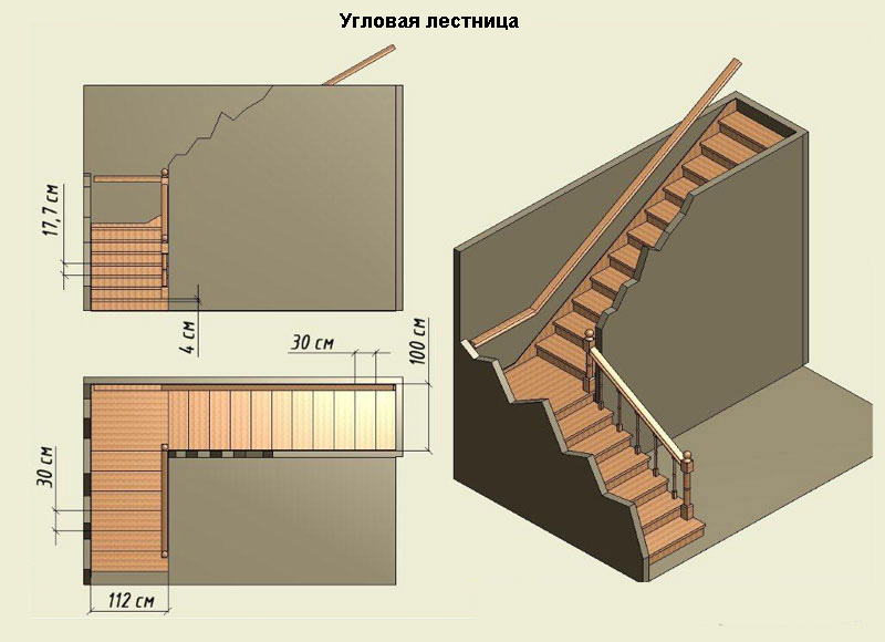 Схема г-образной лестницы из дерева ДоброДуб