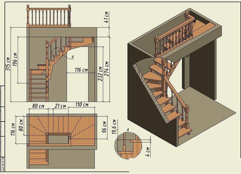 Схема п-образной лестницы из дерева ДоброДуб
