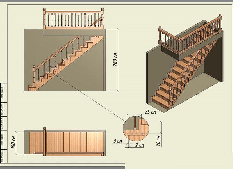 Схема прямой лестницы из дерева ДоброДуб